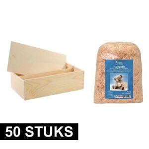 Merkloos 50x Houten wijnkist/verpakking met schuifdeksel/2000 gr. houtwol