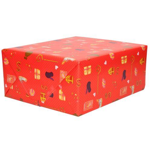 Bellatio Decorations 1x Rollen Kerst inpakpapier/cadeaupapier rood 2,5 x 0,7 meter