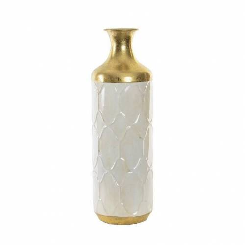 Items Bloemenvaas van metaal wit/goud fantasy motief 16.5 x 52 cm