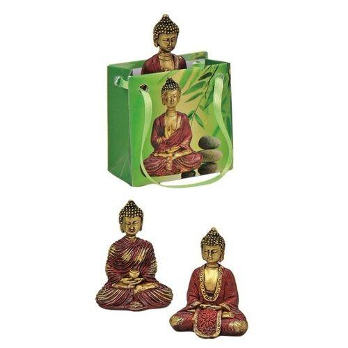 Merkloos Boeddha beeld rood/goud in cadeautasje 5,5 cm