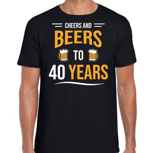Bellatio Decorations Cheers and beers 40 jaar verjaardag cadeau t-shirt zwart voor heren