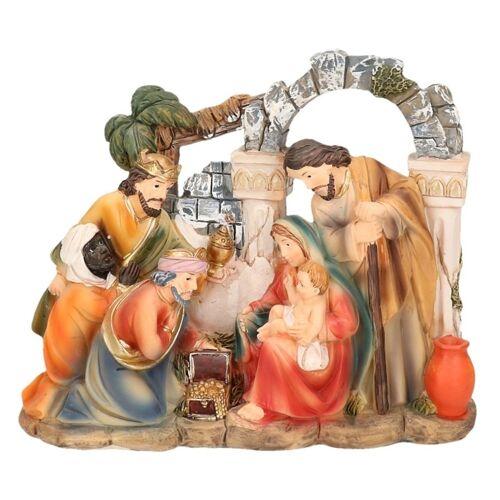 Merkloos Christelijk kerstbeeldje van heilige gezin en de 3 wijzen