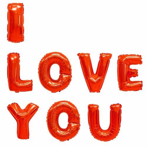 Merkloos Folie ballonnen I Love You 40 cm
