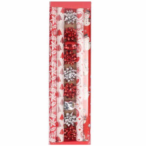 Bellatio Decorations Kerst inpakpapier/cadeaupapier set rood/wit 13-delig