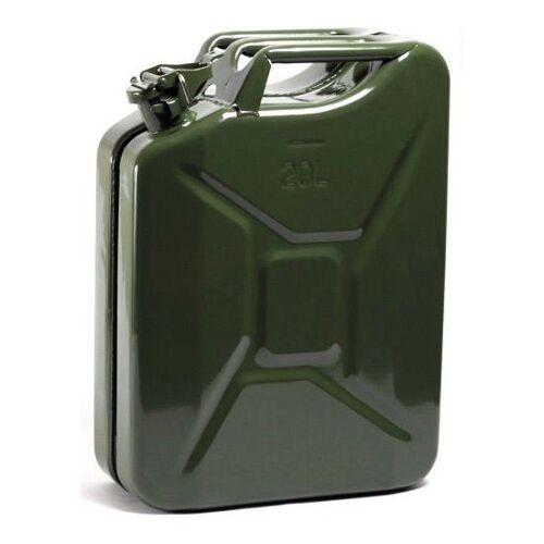 Merkloos Metalen jerrycan legergroen voor brandstof 20 liter