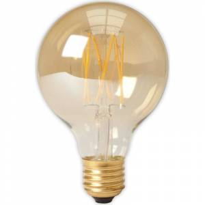 Trendhopper Calex LED Full Glass LongFilament Globe Lamp 240V 4W 320lm E27 GLB80, Gold 2100K Dimmable, energy label A+