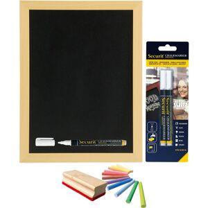Securit Schoolbord/krijtbord 30 x 40 cm met krijtjes/krijtstiften/bordenwisser