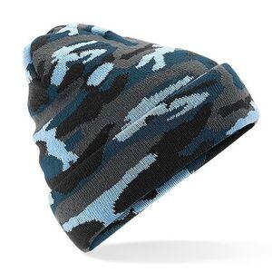 Beechfield Blauwe camouflage gebreide wintermuts voor volwassenen