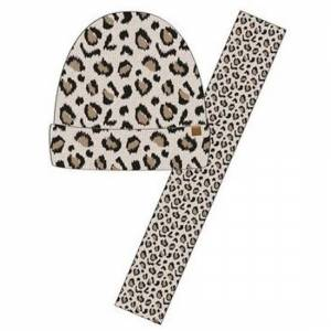 Geen Luxe kinder winterset sjaal + muts luipaard print beige