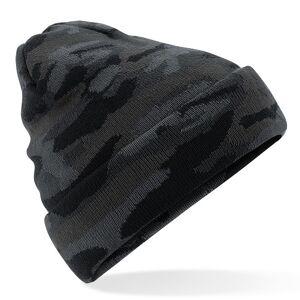 Beechfield Zwarte camouflage gebreide wintermuts voor volwassenen