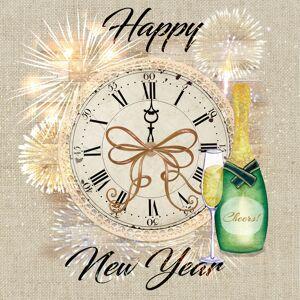 Ambiente 20x Happy new year/nieuwjaar servetten met klok 33 x 33 cm