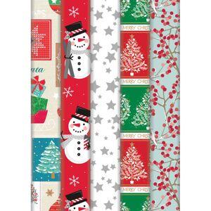 Bellatio Decorations 4x Rollen Kerst inpakpapier/cadeaupapier wit met grijze sterren print 2 x 0,7 meter