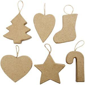 Bellatio Decorations 6x hobby/DIY papier mache kersthangers kerstfiguren