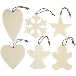 Merkloos 6x Kersthangers houten ornamenten 9-11 cm kerstboomversiering