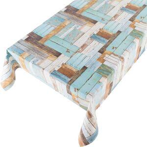 Merkloos Blauw tuin tafellaken houten planken motief 140 x 170 cm