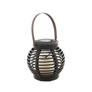 Bellatio Design Buiten/tuin zwarte rotan lampionnen/hanglantaarns 16 cm solar tuinverlichting