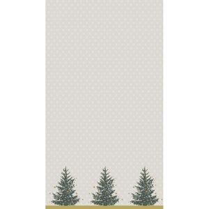Merkloos Feestartikelen papieren Kerst tafelkleed grijs/goud met kerstboompjes print 138 x 220 cm