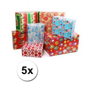 Bellatio Decorations Kadopapier met kerst print 5 rollen