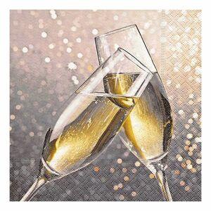 Merkloos Kerst servetten met champagne glazen