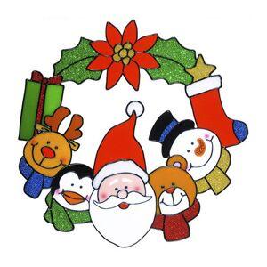 Merkloos Kerstversiering raamstickers kerstrans met kerstman plaatje 30 cm