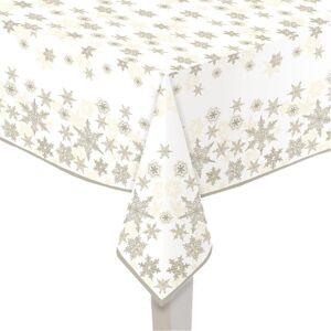 Bellatio Decorations Papieren tafelkleden wit met gouden sterren print 120 x 180 cm