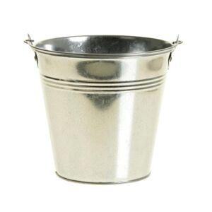 Merkloos Zinken emmertje/bloempot zilver 14 cm hoog
