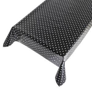 Merkloos Zwart tuin tafellaken voor buiten polkadot 140 x 170 cm PVC/kunststof