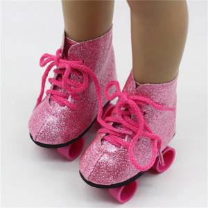 J&S Adorable Roller Skates Shoes voor 18 '' American Girl Our Generation Doll Accessories Action Figure
