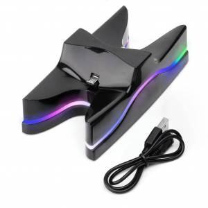 ALLOYSEED Kleurrijke Opladen stand LED DC 5 V Dual Controllers Charger Stand Snelle Opladen Dock Station voor PS4 Controller   ALLOYSEED