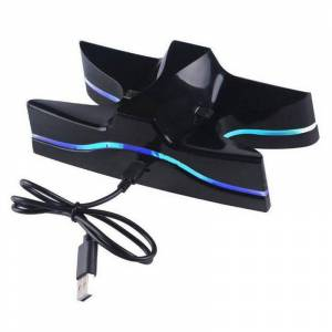 ALLOYSEED Dual Charger Poorten Laadstation met Blauwe LED voor PS4 Playstation 4 DS4 DualShock 4 Controllers Charger   ALLOYSEED