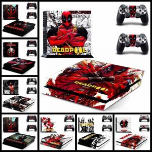 MyXL Marvel Deadpool Decal Skin Stickers Voor Playstation 4 PS4 Console en 2 STKS Stickers Voor PS4 Controller - Gytm0290
