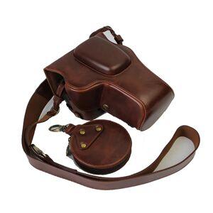 PU Lederen Camera case Voor Nikon D3100 D3200 D3300 D3400 Camera Bag Cover Open Batterij - Coffee