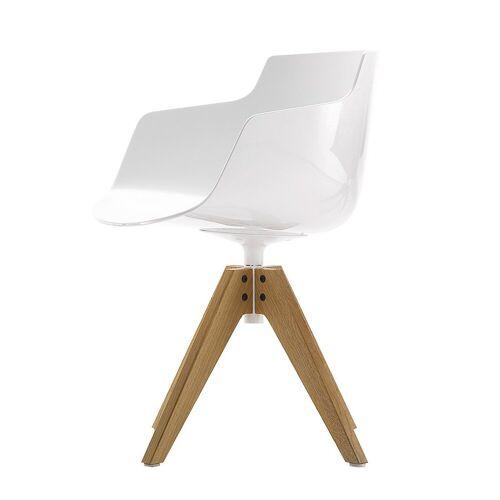 MDF Italia Flow Slim Chair VN Eiken Onderstel Wit