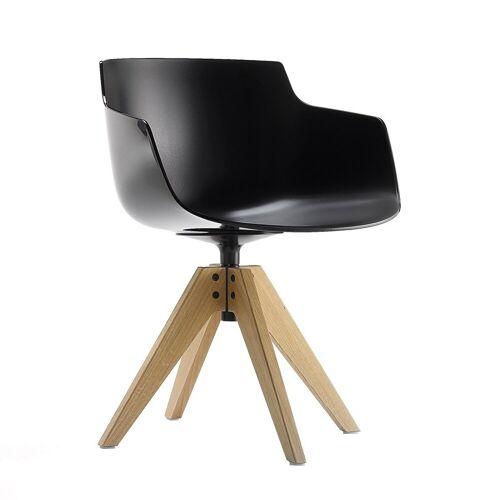 MDF Italia Flow Slim Chair VN Eiken Onderstel Zwart