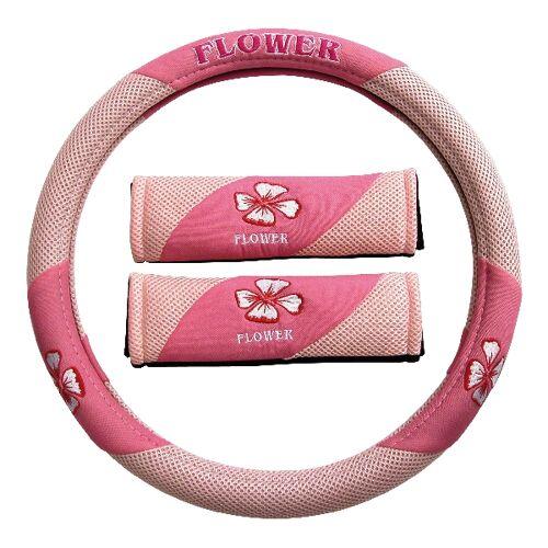 Carpoint Stuurhoes met gordelhoezen 'Pink Flower' 10039