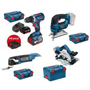 Bosch Blauw 18v Toolkit Hout 1 - GSR 18V-60 C Accuschroefboormachine + GST 18 V-LI B + GKS 18 V-57 G + GOP 18 V-28 - 3 accu's