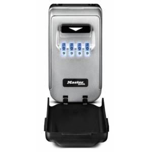 Masterlock Medium Key Lock Box - Zinc alloy construction - Light Up Resettable 4-digit combination - (CR2032 Battery included) - Mounting hardware included - Black and Grey