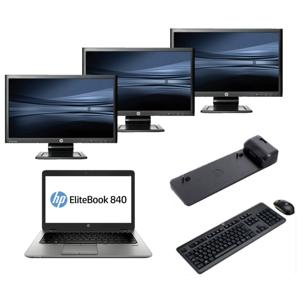 HP Elitebook 840 G2 - Intel Core i5 - 8GB - 320GB HDD + Docking + Dual 3x 23'' Widescreen Full HD Monitor