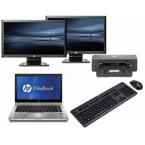 HP Elitebook 8460P - Intel Core i5 - 4GB - 500GB HDD + Docking + Dual 2 x 23'' Widescreen Full HD Monitor