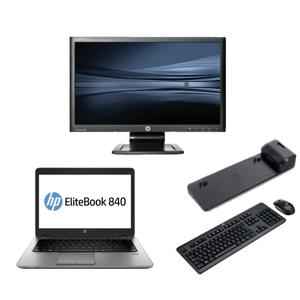 HP Elitebook 840 G1 - Intel Core i5 - 4GB - 320GB HDD - C-Grade + Docking + 22'' Widescreen Monitor