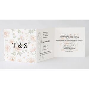 Drieluik trouwkaart met initialen en bloemen
