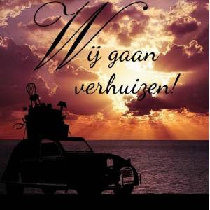Verhuiskaart met zonsopkomst aan zee met contour auto
