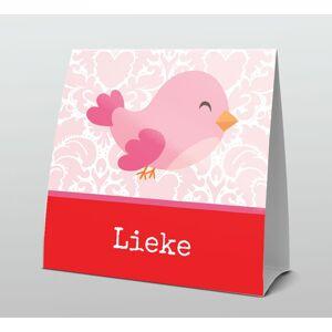 Lief roze met rood vrolijk vogeltje