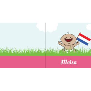 Vrolijk met Nederlandse vlag voor meisje
