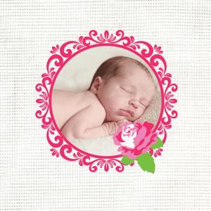 Met foto in lief roze kadertje
