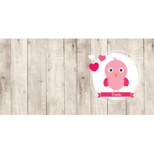 Lief roze vogeltje op steigerhout