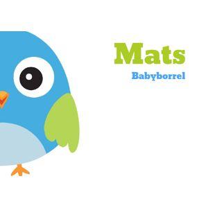 Inlegkaartje babyborrel met blauwe vogel
