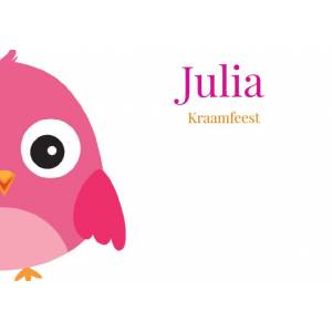 Kraamfeest met roze vogel