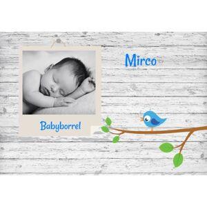 Babyborrel kaartje met foto op hout