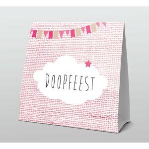 Tentkaart doopfeest met roze wolkje en slinger